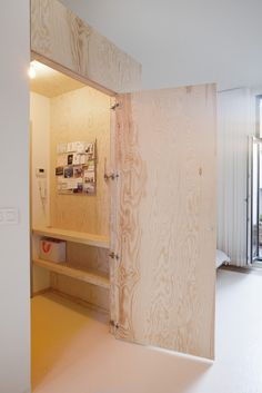 A plywood door conceals a small room with shelves and a WC in The Perfect Studio Apartment, Budget Edition.