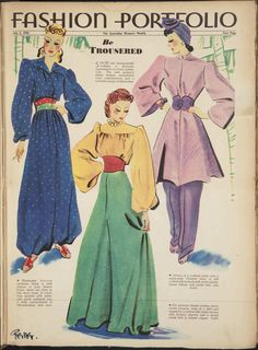 Australian Women's Weekly July 6 1940: Be Trousered - stunning huge trousers, 1940s fashion, vintage fashion illustration