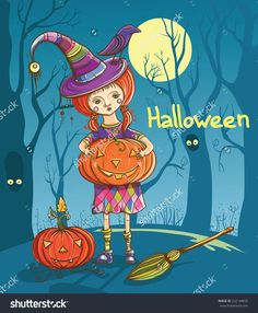 Halloween Vector Illustration With Cute Girl Witch, Pumpkins And Raven. Eps 10 - 222144835 : Shutterstock