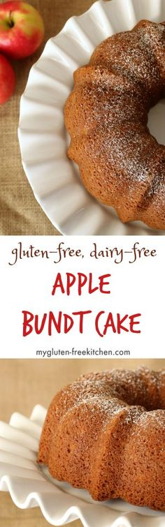 Fresh Apple Bundt Cake (Gluten-free, Dairy-free) by kathrine Gluten Free Apple Cake, Gluten Free Deserts, Best Gluten Free Recipes, Gluten Free Sweets, Gluten Free Breakfasts, Gluten Free Cakes, Foods With Gluten, Gluten Free Cooking, Brownie Sans Gluten
