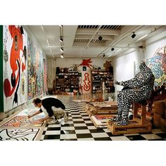 Keith Haring in his studio. I couldn't find a date for this photo. #keithharing
