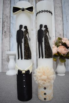 Lumanari pentru nunta cu mire si mireasa eleganti Wedding Glasses, Candels, Decorated Candles, Wedding Decoration