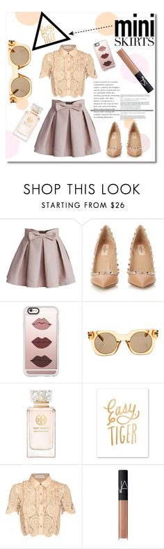 """""""Mini skirts"""" by maki007 ❤ liked on Polyvore featuring Chicwish, Valentino, Casetify, Marc Jacobs, Tory Burch, self-portrait, NARS Cosmetics, MINISKIRT, polyvorecontest and palecolours"""