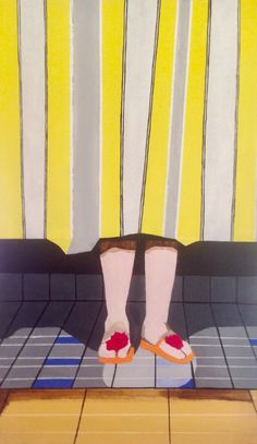 """Buy Sunny Stripes, a Acrylic on Canvas by Susanne Boehm from Germany. It portrays: Beach, relevant to: beach, stripes, summer, sun, Pop art, swimming pool, feet, figurative, geometric, holidays, legs, modern Painted in summer colors it should bring across the """"Good Vibrations"""". I love stripes, patterns and geometry - and smooth surfaces. I am inspired by Alex Katz and David Hockney and other artists of the American Pop Art."""