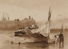 A surprising 'discovery' in the Hamilton Art Gallery: a rare early drawing by Richard Parkes Bonington Fishing Boats, Asian Art, Metal Working, Contemporary Art, Gallery, English, Prints, Watercolour Painting, Image