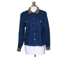 Coldwater Creek Dark Blue Denim Leopard Brocaded Trim Button Jacket Size PM #ColdwaterCreek #BasicJacket