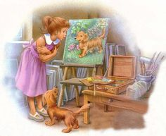 """Martine's Drawing Lesson"": Martine, Patapouf, and his likeness. Who's a handsome dog? Marcel, Cartoon Pics, Cartoon Art, Baby Dior, Cute Fairy, Chica Anime Manga, Old Comics, Kid Poses, Alphonse Mucha"