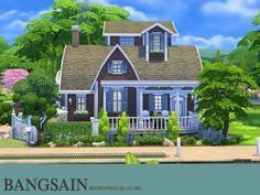 005 Blue House by myskyring at TSR via Sims 4 Updates