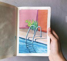 Watercolor Sketchbook, Art Sketchbook, Watercolor Art, Small Canvas Art, Mini Canvas Art, Watercolor Paintings For Beginners, Aesthetic Painting, Hippie Art, Posca