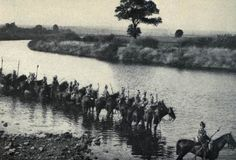 German Uhlans fording a river, 1914