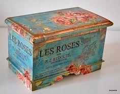 Ruže na modrom / Pupavkashop - SAShE.sk - Handmade Krabičky