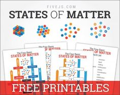 States of Matter, free printable chart & worksheet from FiveJs.com