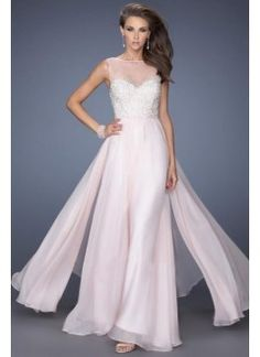 High Neck Beaded Bodice A Line Floor Length With Layered Flowing Chiffon Skirt