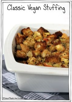 Classic Vegan Stuffing. Perfect for Thanksgiving and Christmas. #itdoesnttastelikechicken Vegan Christmas Dinner, Vegan Thanksgiving Dinner, Thanksgiving Recipes, Thanksgiving Sides, Thanksgiving Casserole, Holiday Recipes, Whole Food Recipes, Cooking Recipes, Dinner Recipes