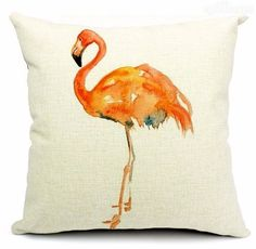 Vintage Style Cotton Linen Cushion Cover Pillow Case Flemingo by amei1976 - $15.99