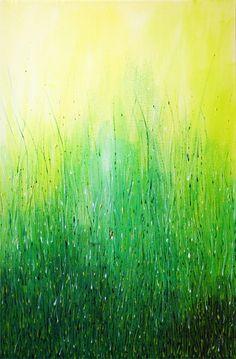 GREEN ABSTRACT Acrylic painting on canvas - Modern grass original art