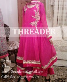Dress ID: 724 Price: PKR 11000 Eid Sale Emroidered Dress, Pure Chiffon shirt and duppatta. Duppatta has velvet borders. Complete Dress. Dress wil be delivered as shown. To buy: Email: threaderpk@gmail.com Phone/Viber: 00923472076667