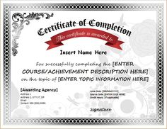 certificate of completion template http www