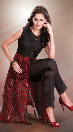 Black Faux Georgette Red Resham Work Indo Western Salwar Kameez