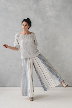 Linen Culottes / Loose Long Linen Pants / Palazzo Linen Pants / Wide Leg Linen Pants / Striped Summer Linen Pants / Trousers for Women