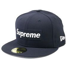 915c7b32d2e SUPREME 16 AW Rip New Era BOX logo New Era Cap NAVY 7-5 8(XL)