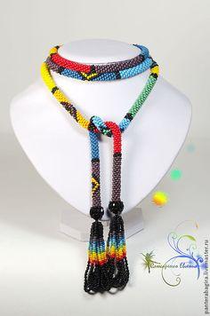 """Купить Лариат """"Ярких красок фрагменты....."""" - лариат, лариат из бисера, галстук из бисера"""
