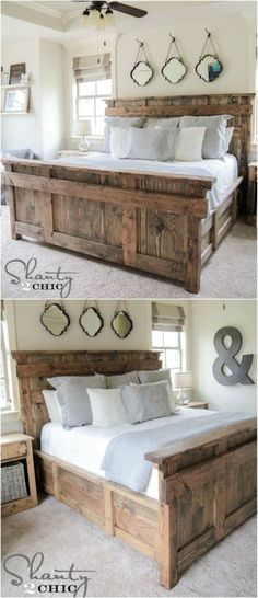 21 DIY Bed Frame Projects – Sleep in Style and Comfort Diy Bed, Bed Frame Design, Rustic Furniture, Home Decor, Diy Furniture Bedroom, Diy Comforter, Bed, Home Diy, Diy Headboard Wooden