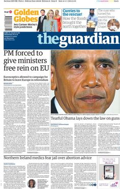 """Wednesday's Guardian: PM forced to give ministers free rein on EU Flooded House, Council House, Blog Planner, Bbc, Bring It On, January 2016, Wednesday, Free"