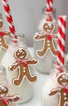 Milk Bottles w/ Mini Gingerbread Men & Candy Stripe Straws