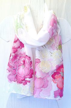Hand Painted Silk Shawl Pink Spring Bouquet by SilkScarvesTakuyo