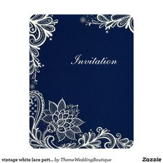 4ed880326c80 vintage white lace pattern navy blue wedding invitation