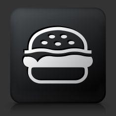 Black Square Button with Hamburger Icon vector art illustration