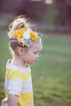 Yellow and grey chevron baby headband- chevron baby bow. $14.95, via Etsy.