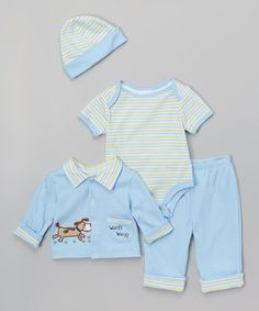 This Light Blue 'Woof Woof' Layette Set is perfect! #zulilyfinds