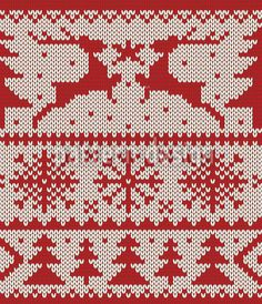 Knitted Deer Crossing White by Viktoryia Yakubouskaya available for download as a vector file on patterndesigns.com