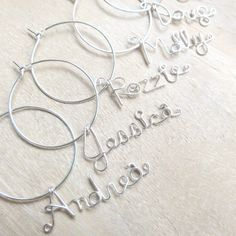 Personalized Wine Charms - Set of 12, Wine Party Favors, Hostess Gift
