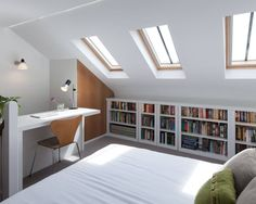 Beautiful minimal attic conversion work space and bedroom at Blackheath House : by APE Architecture & Design Ltd.