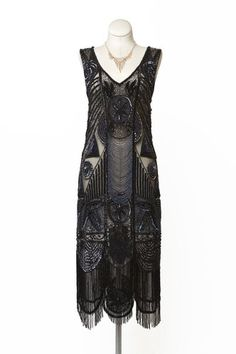 twenties style gowns | 1920s Style Black Beaded Flapper Dress ... | 1920s Dresses