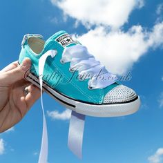 Dainty Lo Top Custom Crystal Converse In Turquoise with Swarovski Crystals. www.craftyjewels.co.uk