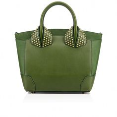 Christian Louboutin United States Official Online Boutique - Eloise Large Two Handle Bag Fraise Calfskin available online. Discover more Handbags by Christian Louboutin Green Shoulder Bags, Shoulder Handbags, Leather Shoulder Bag, Green Handbag, Green Purse, Leather Purses, Leather Handbags, Mini Handbags, Louboutin Online