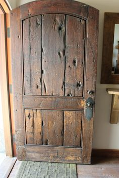 Front Door - made from salvaged vintage timber - via European Farmhouse Charm: Our Garage Door Makeover and a Trip to Vintage Timberworks Garage Door Makeover, Rustic Doors, Farmhouse Front Doors, Farmhouse Style, Rustic Interior Doors, Rustic Farmhouse, Old Wood Doors, Wooden Garage Doors, French Farmhouse Decor