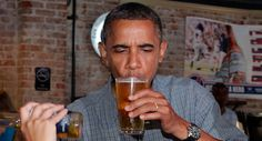 President Obama enjoys a beer at Ziggy's Pub in Amherst, Ohio.
