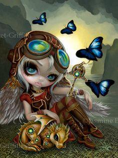 Clockwork Dragonling steampunk fairy art print by by strangeling