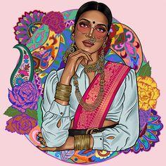 Indian Illustration, Fashion Illustration Sketches, Woman Illustration, Illustrations, Cool Art Drawings, Art Drawings Sketches, Sketch Drawing, Pop Art Wallpaper, Smoke Wallpaper