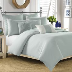 Smooth and serene, this solid comforter set refreshes your master suite or guest room in peaceful style. Product: 1 Comforter and 2 standard shamsConstruc...