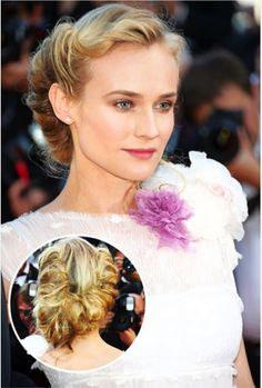 Diane Kruger's wedding updo is an elegant match for a Vera Wang gown