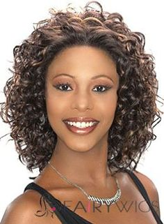 Elegant Medium Curly Brown African American Lace Wigs for Women