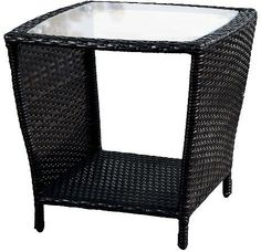 Noble House Weston Wicker with Glass Top Patio Side Table - Christopher Knight Home