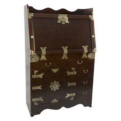 Oriental Furniture Korean Antique Style Drop Leaf Secretary Desk - KRN-H-32