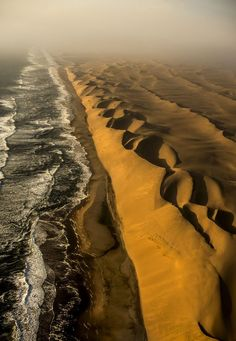Ocean and Desert - Aerial view of the Skeleton Coast, Namibia Places To Travel, Places To See, Travel Destinations, Beautiful World, Beautiful Places, Namib Desert, Africa Travel, Aerial View, Amazing Nature